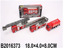 PULL BACK DIE-CAST FIRE TRUCK(4 MIX)